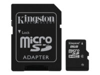 Kingston - Flash memory card (microSDHC to SD adapter included) - 8 GB - Clas...