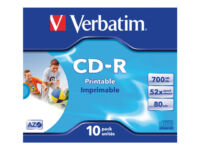 Verbatim - 10 x CD-R - 700 MB (80min) 52x - ink jet printable surface, wide p...
